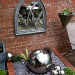stainless steel spherical water feature